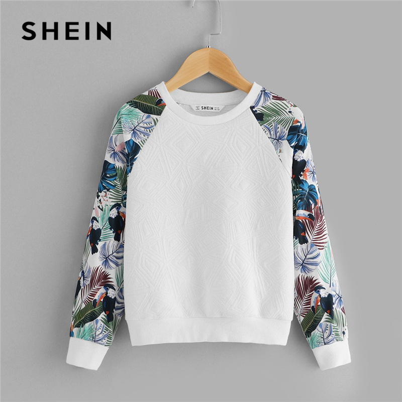 SHEIN Kiddie White Floral Print Cute Sweatshirt For Toddler Girls Tops 2019 Spring Casual Long Sleeve Pullover Kids Clothing letter print crew neck long sleeve men s pullover sweatshirt