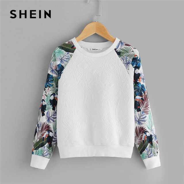 SHEIN Kiddie White Floral Print Cute Sweatshirt For Toddler Girls Tops 2019 Spring Casual Long Sleeve Pullover Kids Clothing
