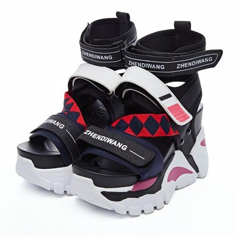 NAYIDUYUN/женские спортивные сандалии на платформе; сандалии гладиаторы на высоком каблуке; модные летние кроссовки с ремешками; обувь на толст
