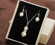 Wedding Bridal Korean Simulated Pearl Clavicular Chain Necklace Earrings Wholesale Set Necklace N2664(China)