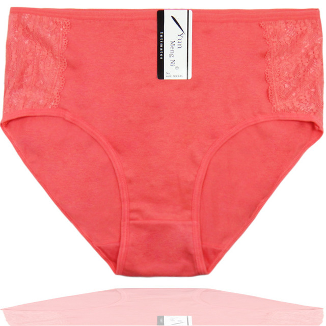 1de2ae70b99 6 Pcs  Pack Woman Plus Size Briefs Pure Color Big Cotton Underwear Woman  High Waist Solid Sexy Lace Women Panties 2XL 3XL 4XL