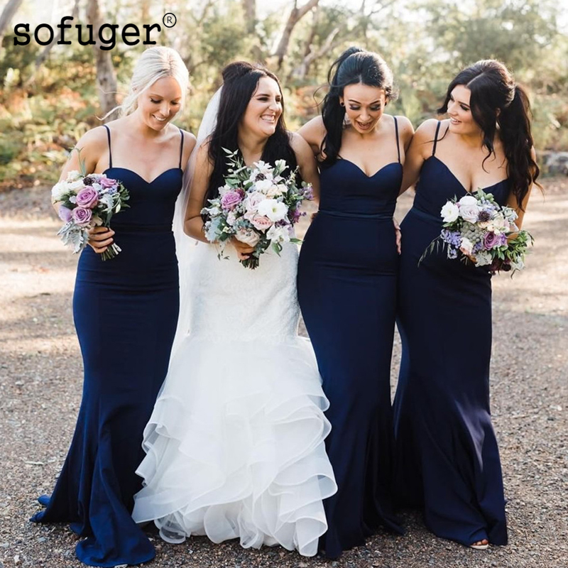 Navy Attractive Sweetheart Satin Special Occasion Spaghetti Straps   Bridesmaid     Dresses   Formal Vestidos Wedding Party   Dresses