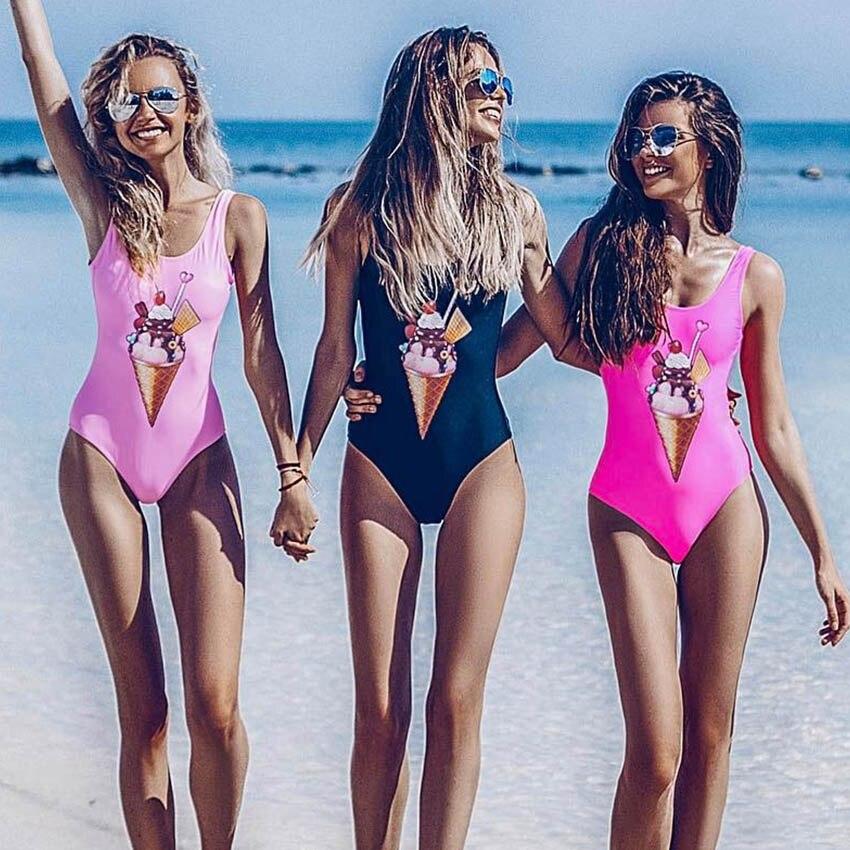 Bikini Sexy One Piece Swimsuit Cartoon Swimwear Women Swimsuit Push Up Bathing Suits Beach Wear Swim Halter Backless Monokini