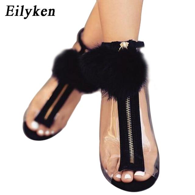 278c867d625 Eilyken Women Sandals High Heel Peep Toe Transparent Clear Ankle .