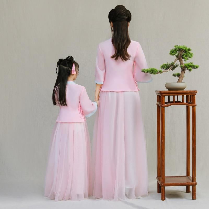 Vestidos Filha da mãe Vestido de Noiva Chinês Moda Desgin New Mommy and Me Roupas para a Família Roupas Combinando Vestidos de Rosa - 3