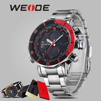 WEIDE Relojes Men Watches Top Brand Luxury Alarm Clock Stainless Steel Sport Led Electronic Wrist Watches