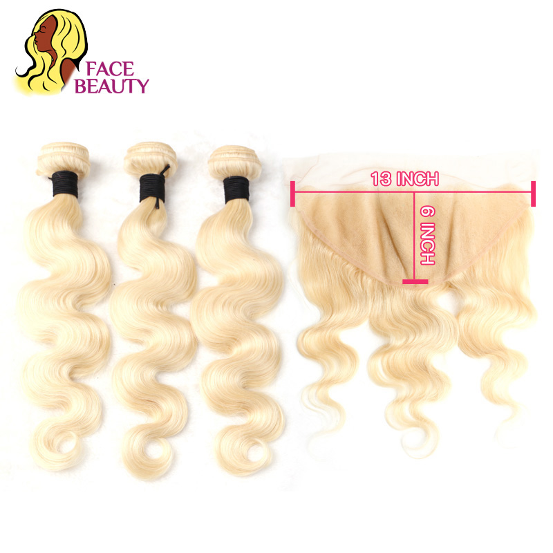 Facebeauty 13x6 Closure Free Middle Part 613 Blonde Body Wave Swiss Lace Frontal with 2 3