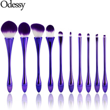 ODESSY 10PCS Goblet Shaped Purple Makeup Brushes Set with Powder Foundation Concealer Contour Blending Eyeshadow Lip Brush kit