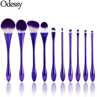 ODESSY 10PCS Goblet Shaped Purple Makeup Brushes Set With Powder Foundation Concealer Contour Blending Eyeshadow Lip