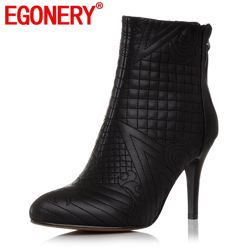 EGONERY winter ankle boots women shoes pointed toe embroidered genuine leather booties back zipper woman heels
