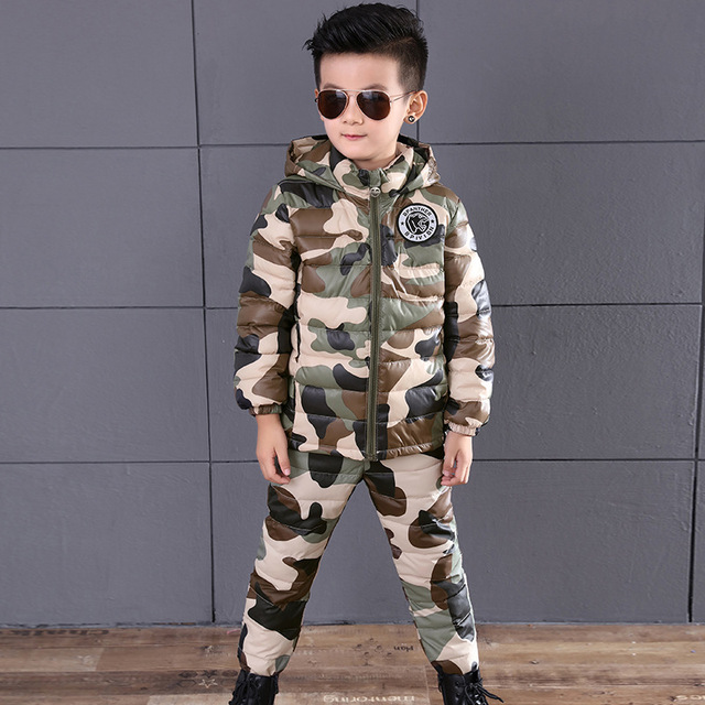 4-11T Boys Winter Warm Clothing Set White Duck Down Jacket Clothing Set Boy Camouflage Hooded Down Coat Pants Suit 2PCS Outwear