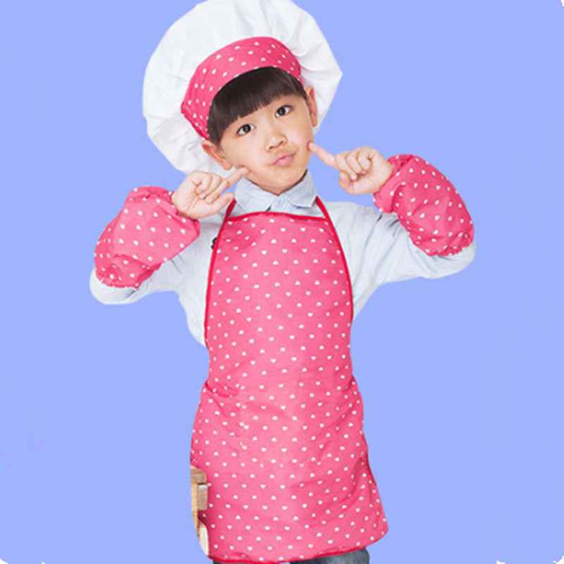 1 Set Children Apron Chef Hat Cuffs Set Kids Craft Cooking Baking Clothes Baby DIY Painting Clothing BBB0657