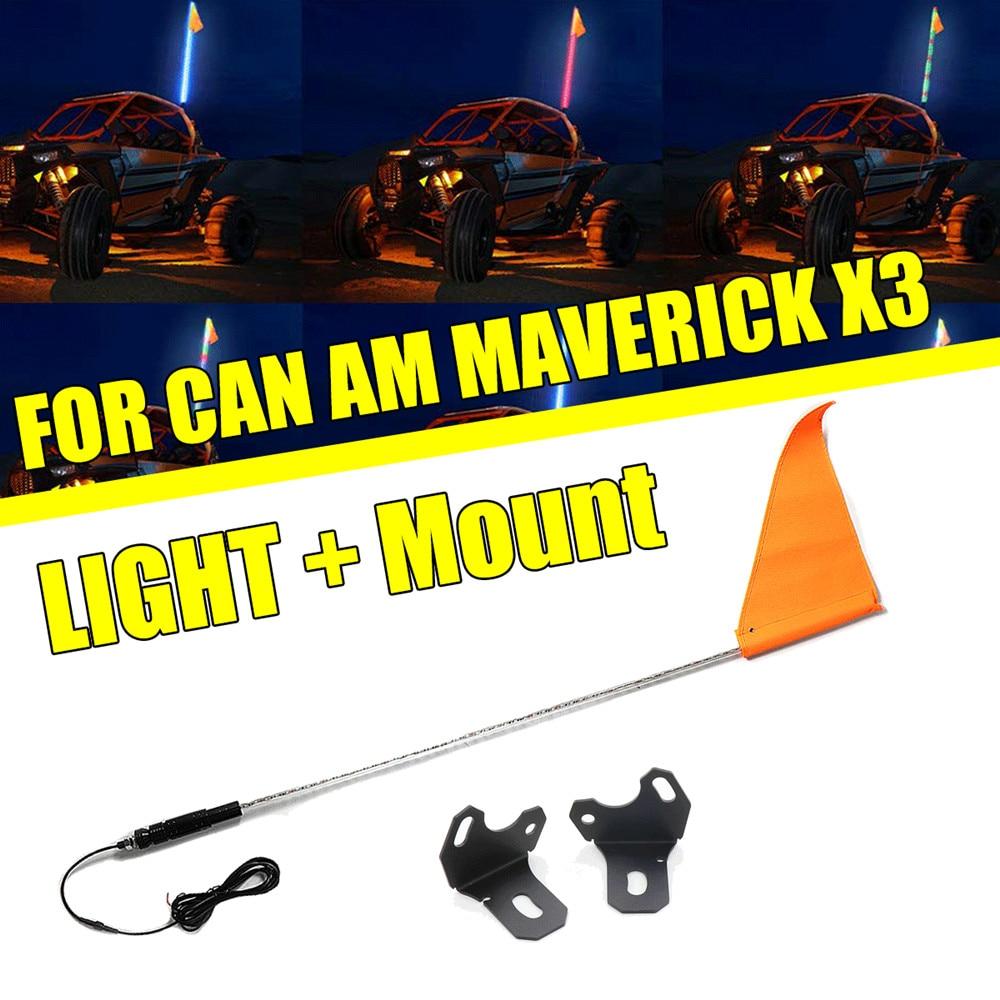KEMIMOTO 5FT 20 Color LED Flag Antenna Whip Lighted Mount Bracket for Cam Am MAVERICK X3