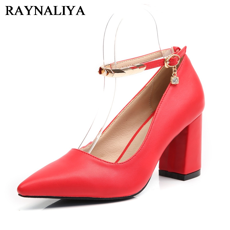 Size 34-43 Lady Square High Heels Pumps Pointed Toe Red Color Shoes Women Soft Sexy Office Lady Mature Footwears BLY-B0055 women s geniune leather high heels shoes women pointed toe pure color high heeled pumps office lady sexy footwear size 33 40