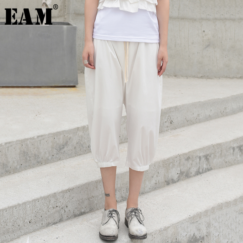 [EAM] 2020 New Spring Autumn High Elastic Waist Loose Black Pocket Leisure Harem Pants Women Trousers Fashion Tide JW542
