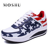 Women Summer Platform Sneakers Wedges Creepers Lace Up Trainers England Flag Basket Femme Causal Shoes Chaussure