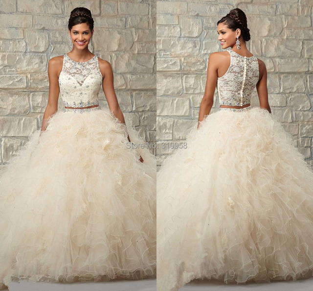 3e9c01bd38 Elegant Beige Color Ball Gown Two Pieces Cheap Quinceanera Dresses 2015  Ruffles Tulle Lace Tank Beaded Girls Masquerade Dress