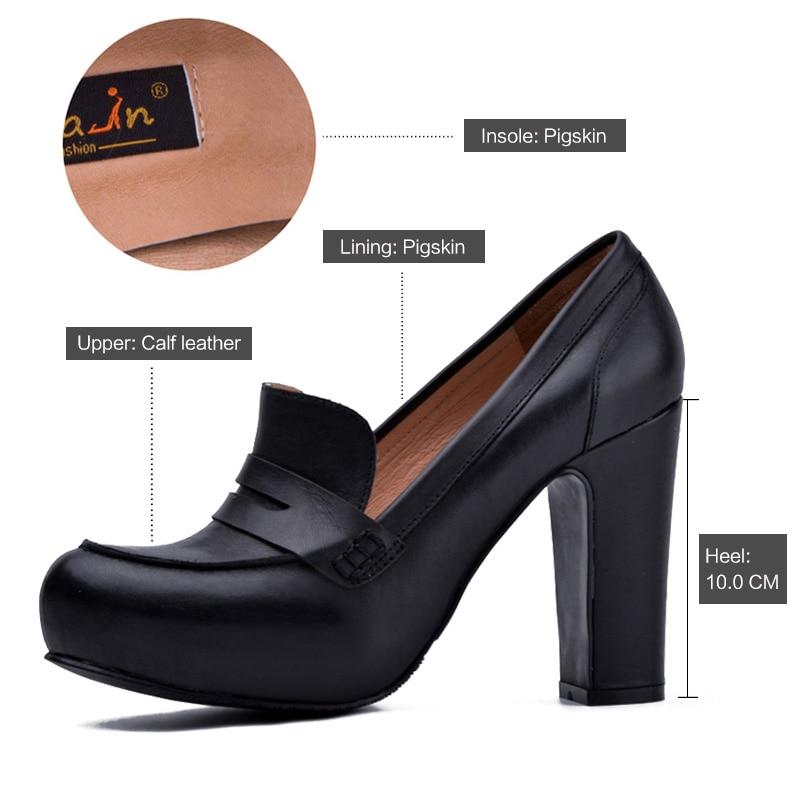 Donna-in Women Black Genuine Leather High Heels Platform Pumps Round Toe  Thick Heel Women s Shoes New Fashion Sexy Ladies Pump 9df9eb996fe4