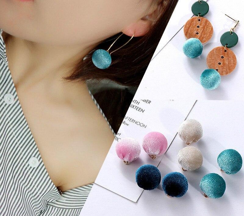 Corduroy earrings with hanging hair ball DIY Earrings ...