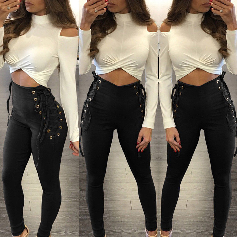 Women Pants Fitness Stretch High Waist Sheath Slim Casual Lace Up Pants Bandage Trousers Women Clothing Female Apparel