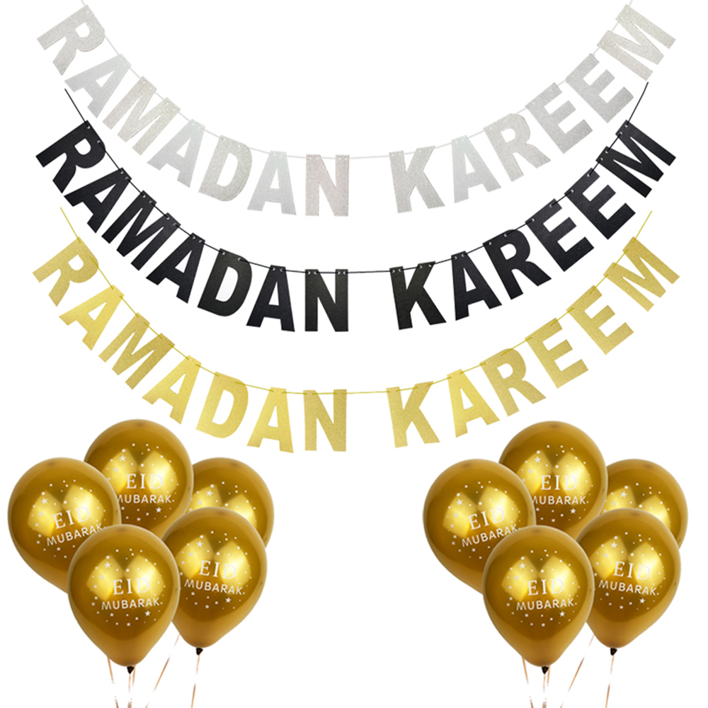 HAOCHU Islam Party Suppies Gold Silver Glitter Cardboard Garland Letter Banner Ramadan EID Moon Kareem Latex Balloon Home DecorHAOCHU Islam Party Suppies Gold Silver Glitter Cardboard Garland Letter Banner Ramadan EID Moon Kareem Latex Balloon Home Decor