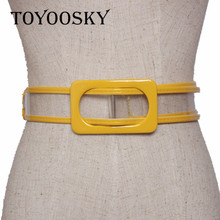 2019 Fashion Women Plastic Belts For Transparent All-mached of Rectangle Buckle Top Quality Lady Casual TOYOOSKY