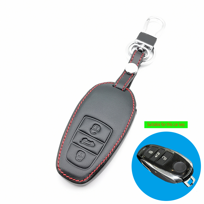 Two Color Car Key Chain Genuine Leather Remote Control Car Key Cover Case For Volkswagen T ouareg 3 buttons Smart Key Shell