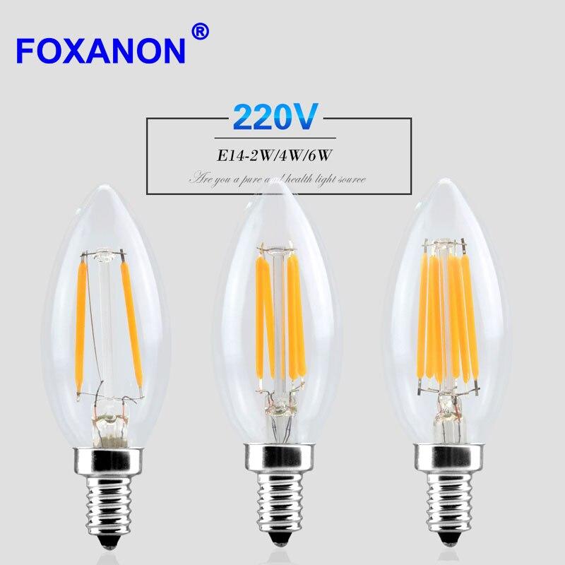 Lampada Led E14 Para Lustre.R 12 94 30 De Desconto Foxanon E14 Pode Ser Escurecido Diodo Emissor De Luz 220 V 2 W 4 W 6 W Filamento Da Lampada Vela Lampada Lampada Led Retro