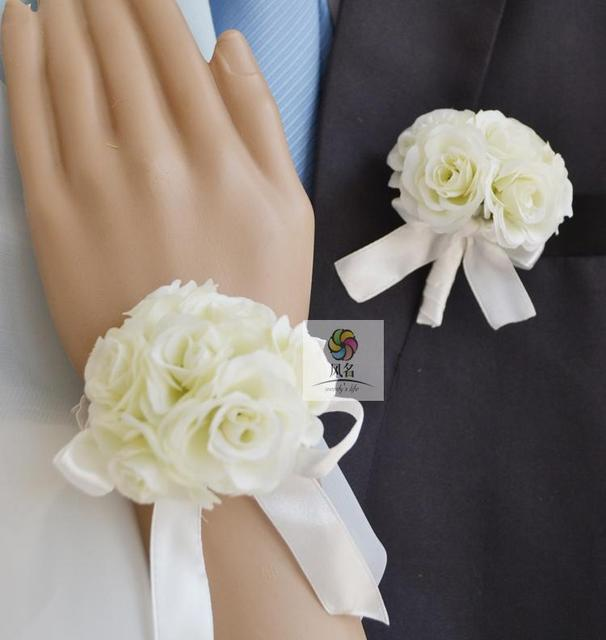 Aliexpress buy handmade wedding corsages groom boutonniere handmade wedding corsages groom boutonniere bride bridesmaid mom hand wrist flower artificial rose flowers prom corsage mightylinksfo