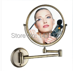High quality brass anti brass finish 1x 3 times 8' magnifying double faced make-up mirror bathroom dressing mirror accessories