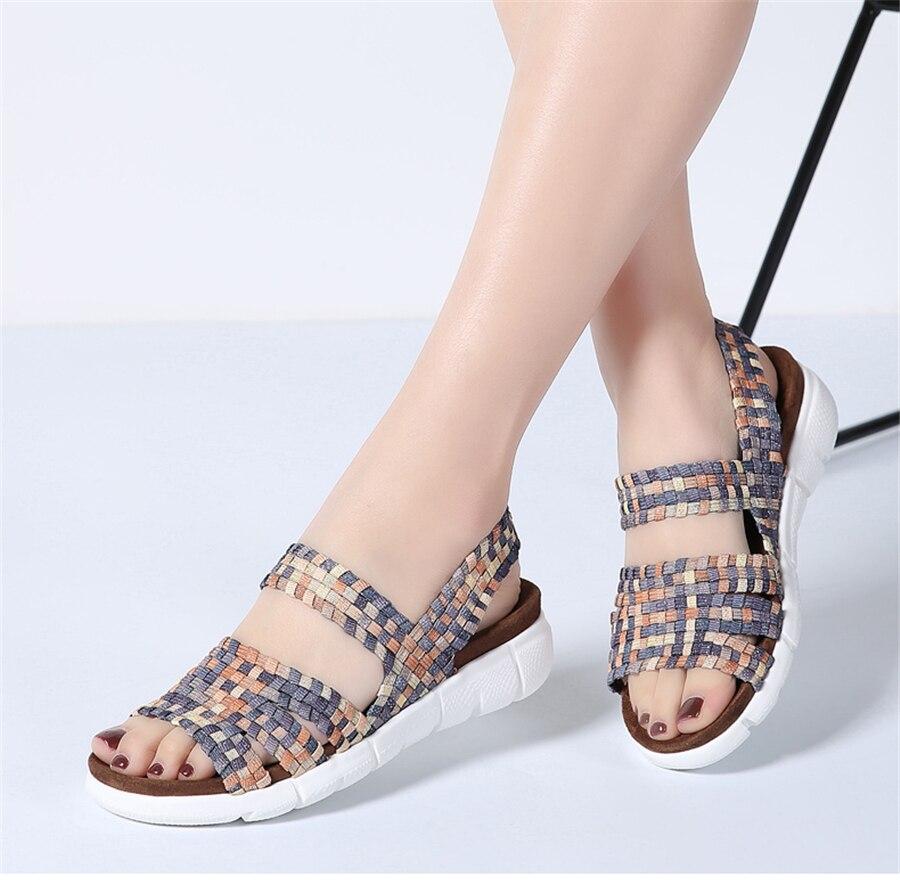 HTB1PdJHgpuWBuNjSszbq6AS7FXaT STQ 2019 women flat sandals shoes women woven wedge sandals ladies beach summer slingback sandals flipflops jelly shoes 803