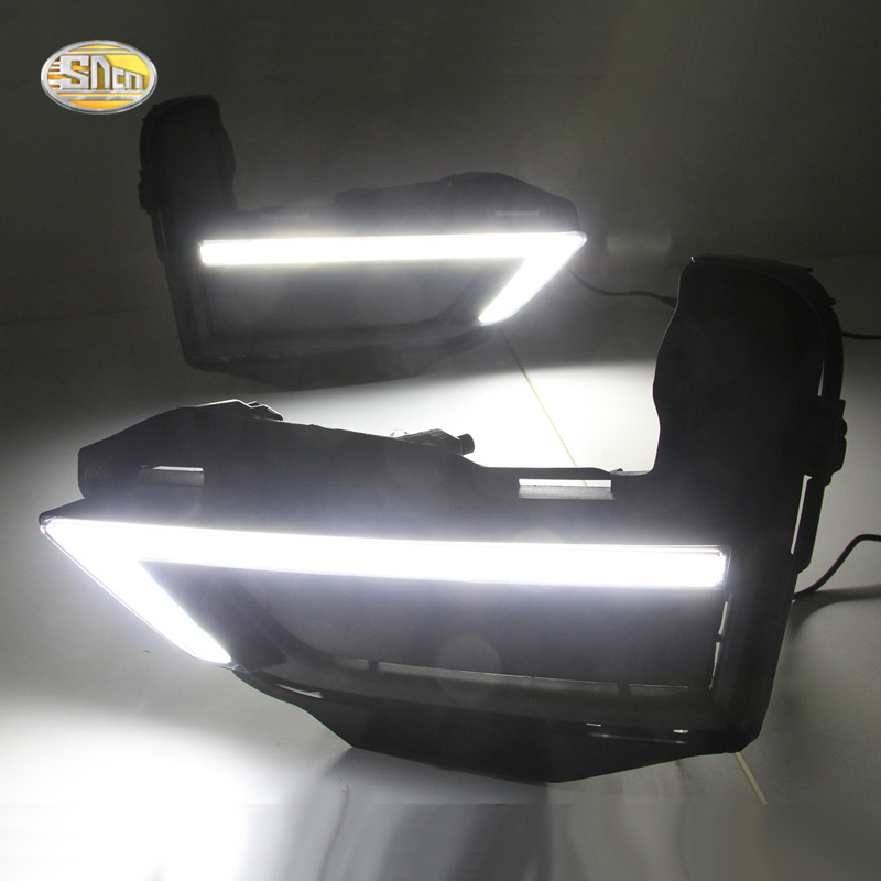 SNCN Led Daytime Running Lights for Nissan X-trail Xtrail 2017 2018 drl fog lamp cover driving lights with Yellow Turning lamp автомобильный dvd плеер zhoon android 4 2 2 dvd gps xtrail nissan x trail