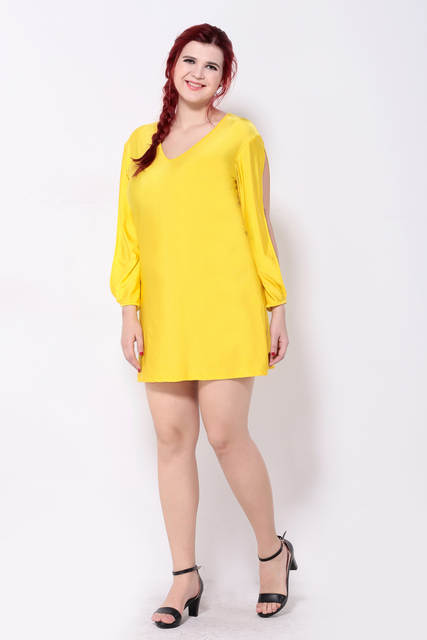 2016 Brand Casual Autumn Slit Long Sleeves Yellow Dress Cute Mini Women  Shift Dresses Sexy V 7f9ffa84187d
