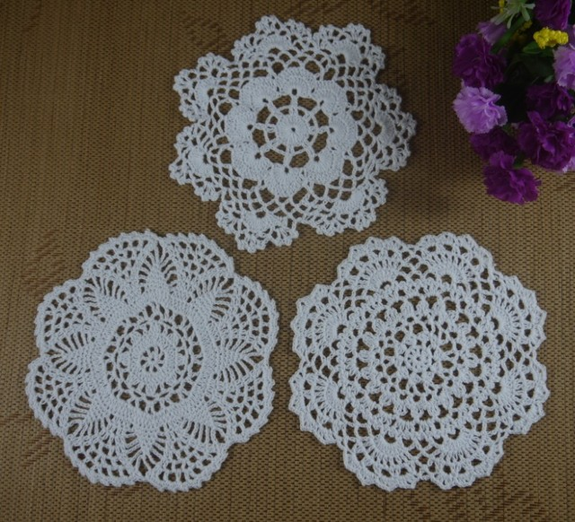 Free Shipping Handmade Nice Crochet Pattern Doily Cup Pad Mat Table
