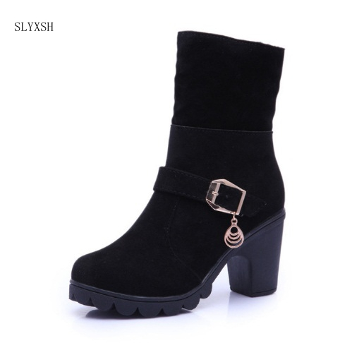 48b1b9532a 02 Saltos Botas Novo Salto Sapatos black red Mulheres Das De Senhoras 01  Moda Neve Quadrados Slyxsh Quente Inverno ...
