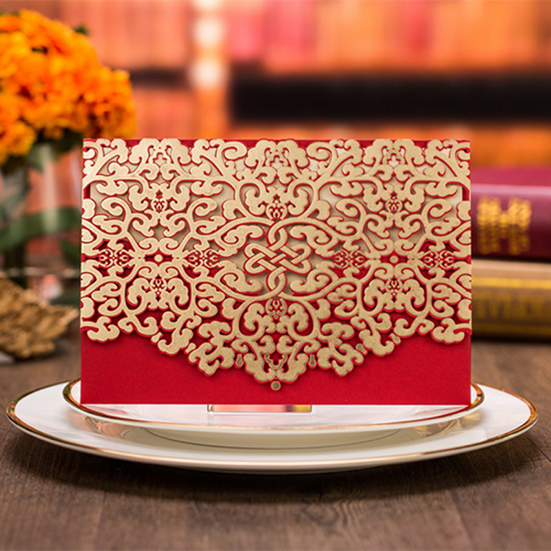 50pcs Red Luxury Flora Hollow Marriage Wedding Invitations Cards Laser Cut 3D Card Greeting Cards Postcard Event Party Supplies 1pcs sample laser cut bride and groom marriage wedding invitations cards greeting cards 3d cards postcard event party supplies