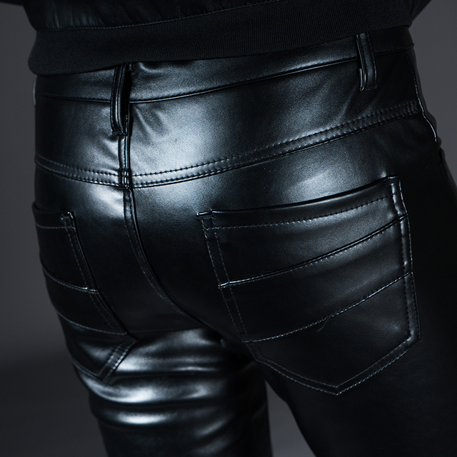 New Winter Spring Men's Skinny Leather Pants Fashion Faux Leather Trousers For Male Trouser Stage Club Wear Biker Pants 6