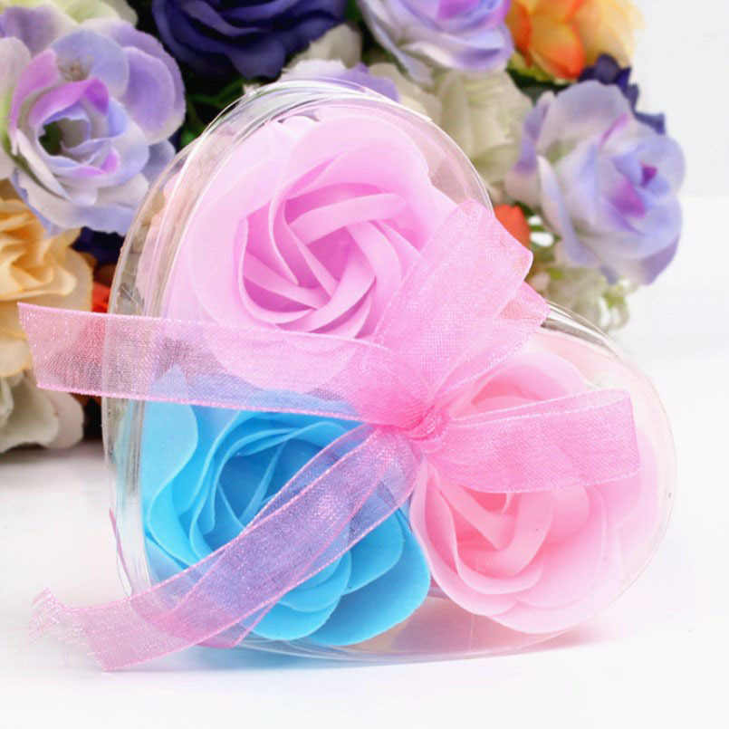 New 3pcs Roses Soap Flower Gift Box Valentine's Day Bridesmaid Gift Birthday Gifts Wedding Gifts For Guests Wedding Souvenir
