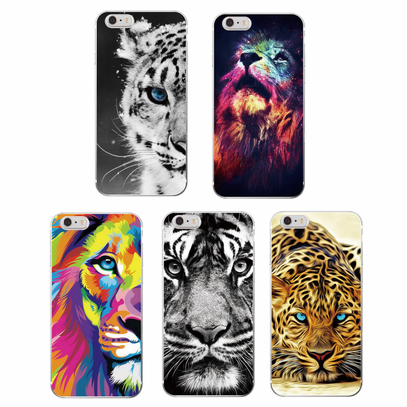 Fashion Lion Tiger panther Leopard Soft TPU Case Coque Fundas For iPhone 7 7Plus 6 6S 6Plus 5 5S 8 8Plus X SAMSUNG GALSXY S8 S8P