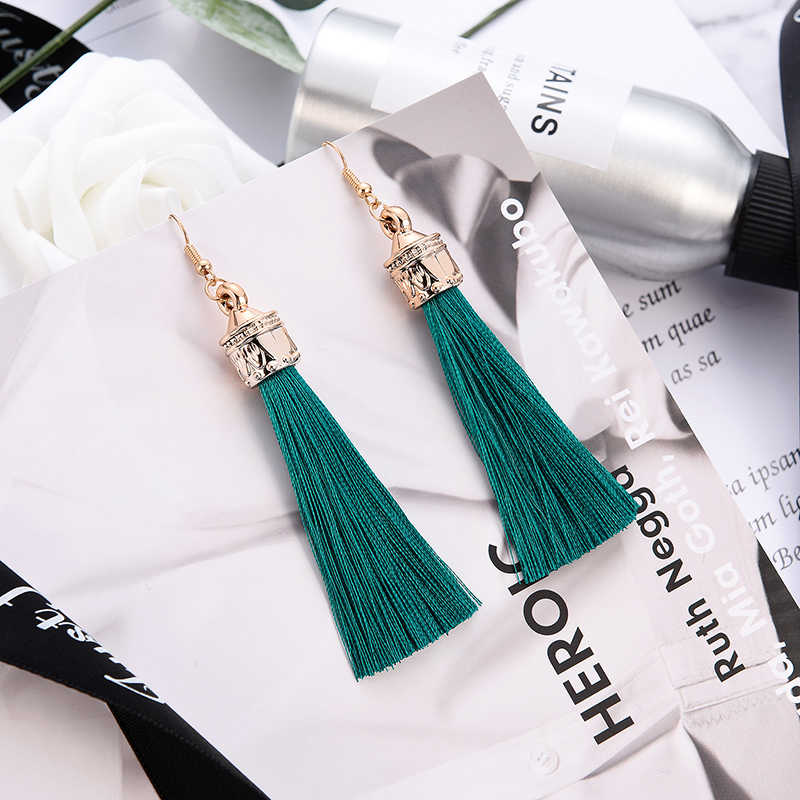 Vintage Bohemian Long Tassel Earrings Blue White Women Fashion Jewelry Geometric Dangle Drop Party Trendy Earrings For Gift 2019