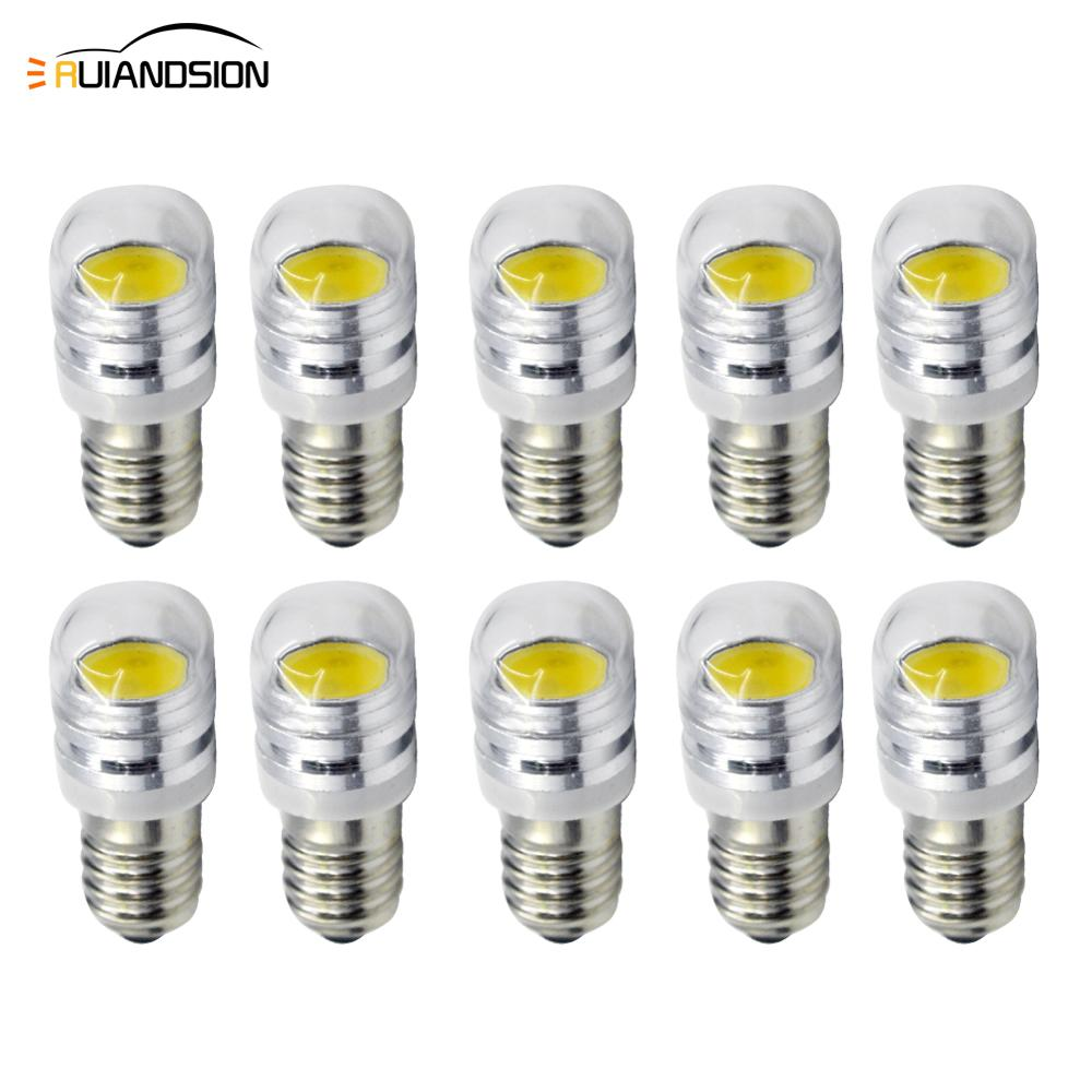 10X Round E10 COB 2W super Dc 6v 12volt LED Interior Dome Bulbs Car Parking Light Auto Door Lamp white Warm white in Signal Lamp from Automobiles Motorcycles