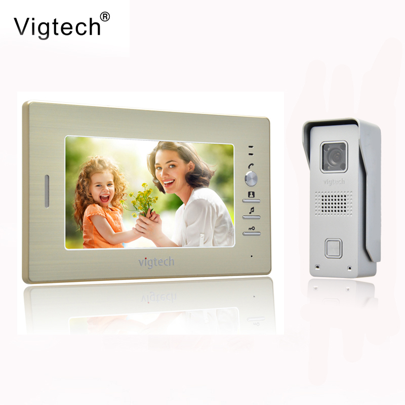Vigtech 7 inch LCD Color Video door phone Intercom System Weatherproof Night Vision Camera Home Security FREE SHIPPING home security 7 inch monitor video door phone intercom system with night vision outdoor waterproof camera free shipping