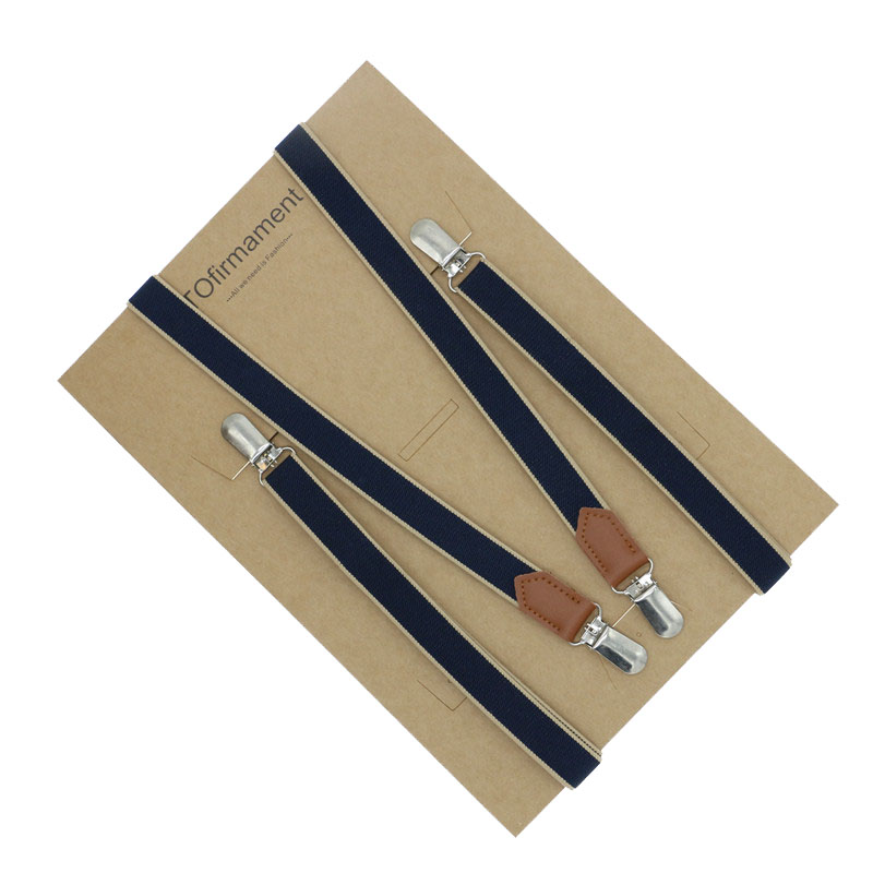 High Quality Split Cowhide Strap Women Suspenders Real Leather Braces 2cm Width No Cross 4 Clips