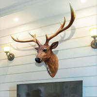 Home wall decorations deer head wall hanging wall decorated bar decorated with living room decoration crafts Xmas Gift Creative