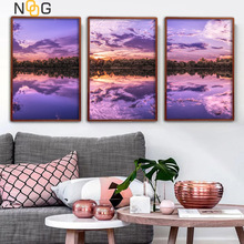 NOOG Nordic Romance Afterglow Poster And Print Life Purple Lake Landscape Wall Art Canvas Painting Decorative Picture Home Decor