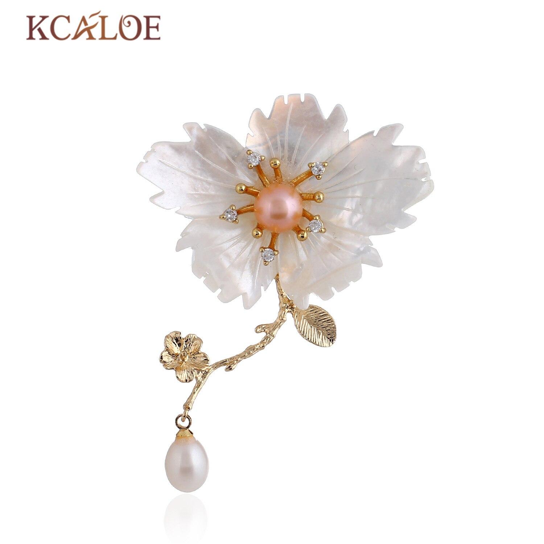 Kcaloe Wedding White Flower Brooch Fashion Pink Imitation Pearl