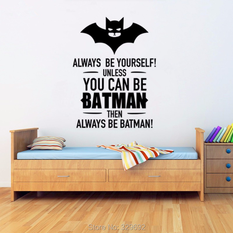 Batman Art Decoraties-Jongens Slaapkamer Muur Art Mural-Batman Quotes ...