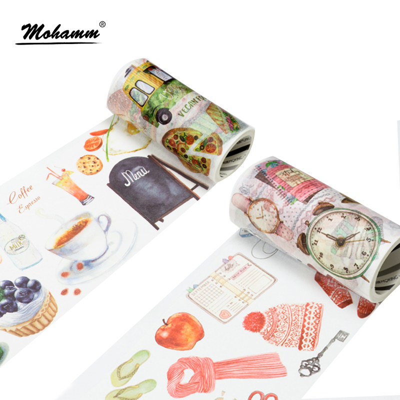 90mm Width Creative Cute Kawaii Food Life Supplies Decorative Washi Tape DIY Scrapbooking Masking Tape School Office Supply 9cmx5m creative life edition washi paper tape 9cm delicacy small objects decorative tape