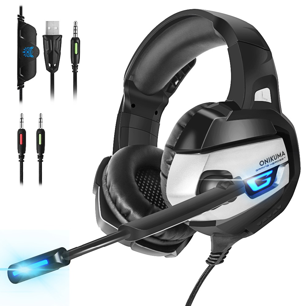 ONIKUMA Gaming Headphones Deep Bass Stereo game Headset with Microphone LED light Wired Earphone for Laptop Computer PC PS4 Xbox