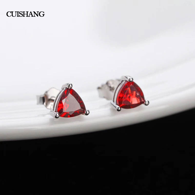 CSJ Real Garnet Earrings 925 Sterling Silver Engagement women For Lady Girl Wedding Party Gift Fine Jewelry csj 100